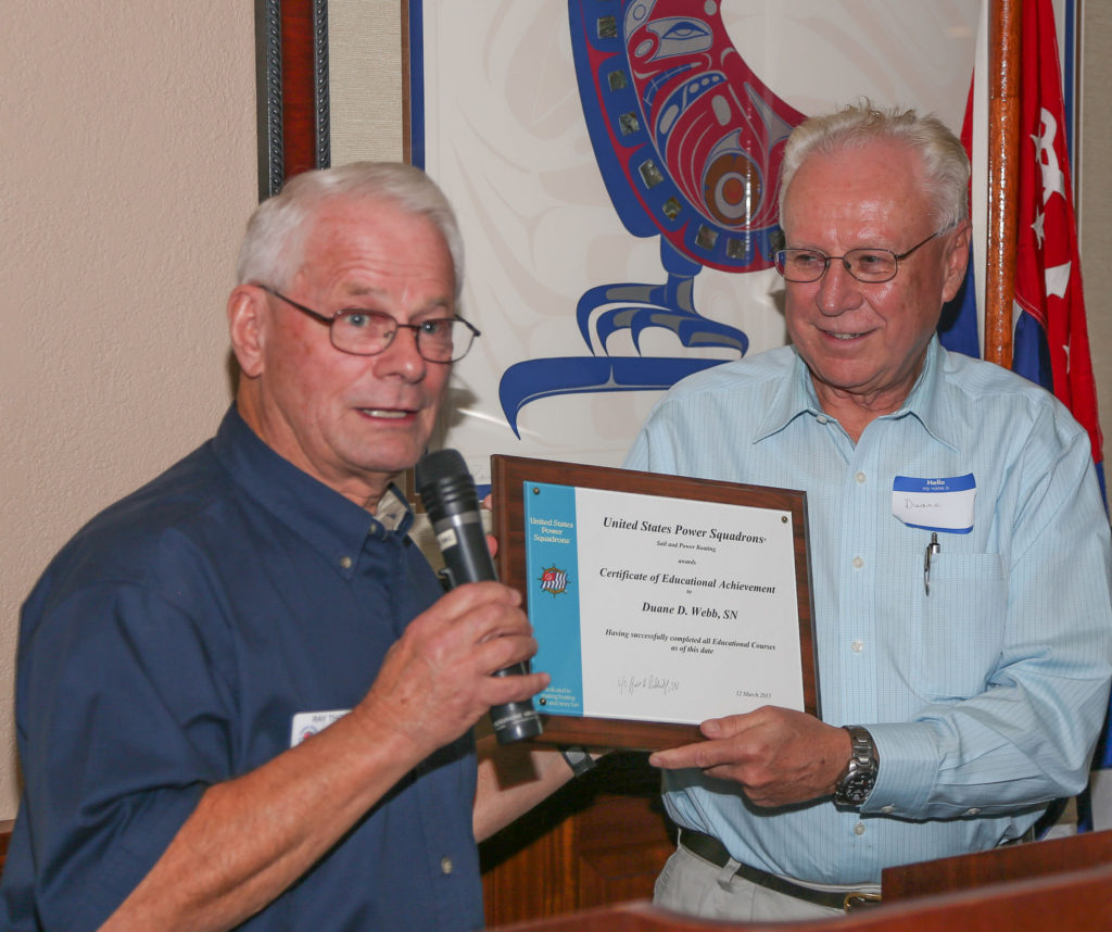 Duane Webb awarded certificate for completing ALL classes offered by USPS