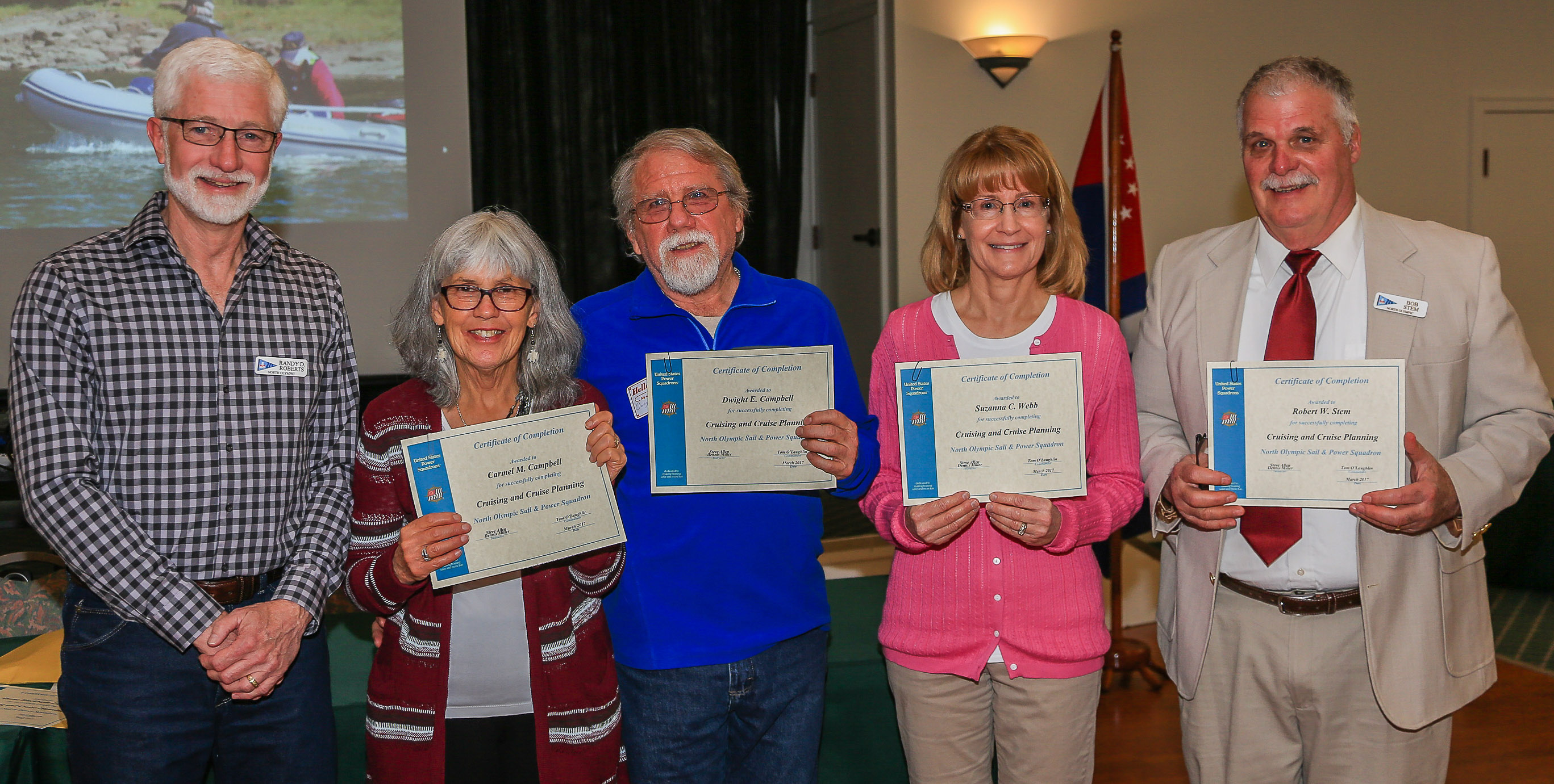 Carmel & Dwight Campbell, Susy Webb, Don Stem receive Cruise & Cruise Planning