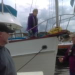 Linda Walker, first mate on Grand II takes care of things upon arrival in Port Ludlow