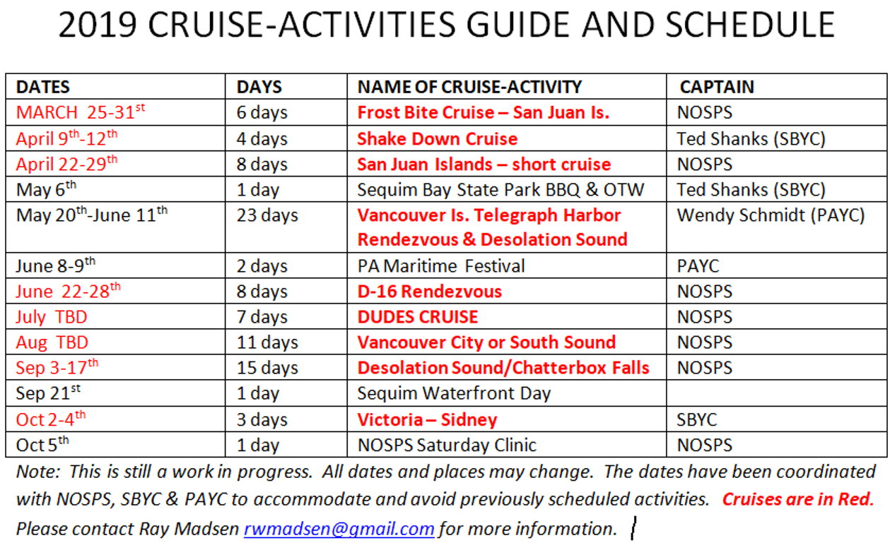 2019 Cruise Schedule as of Jan 15