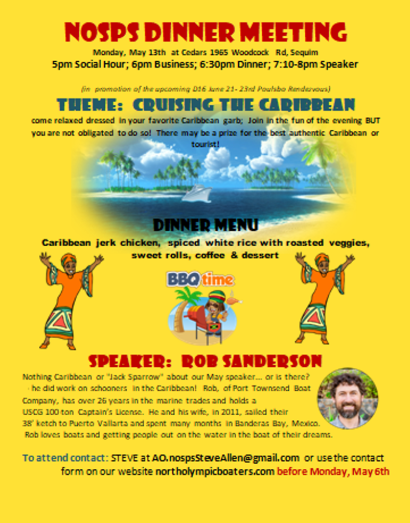 Come Carribean Style May Dinner Meeting